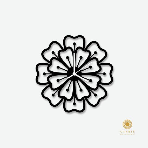 Flower pattern modern wall clock Modern Laser Cut  by Osaree