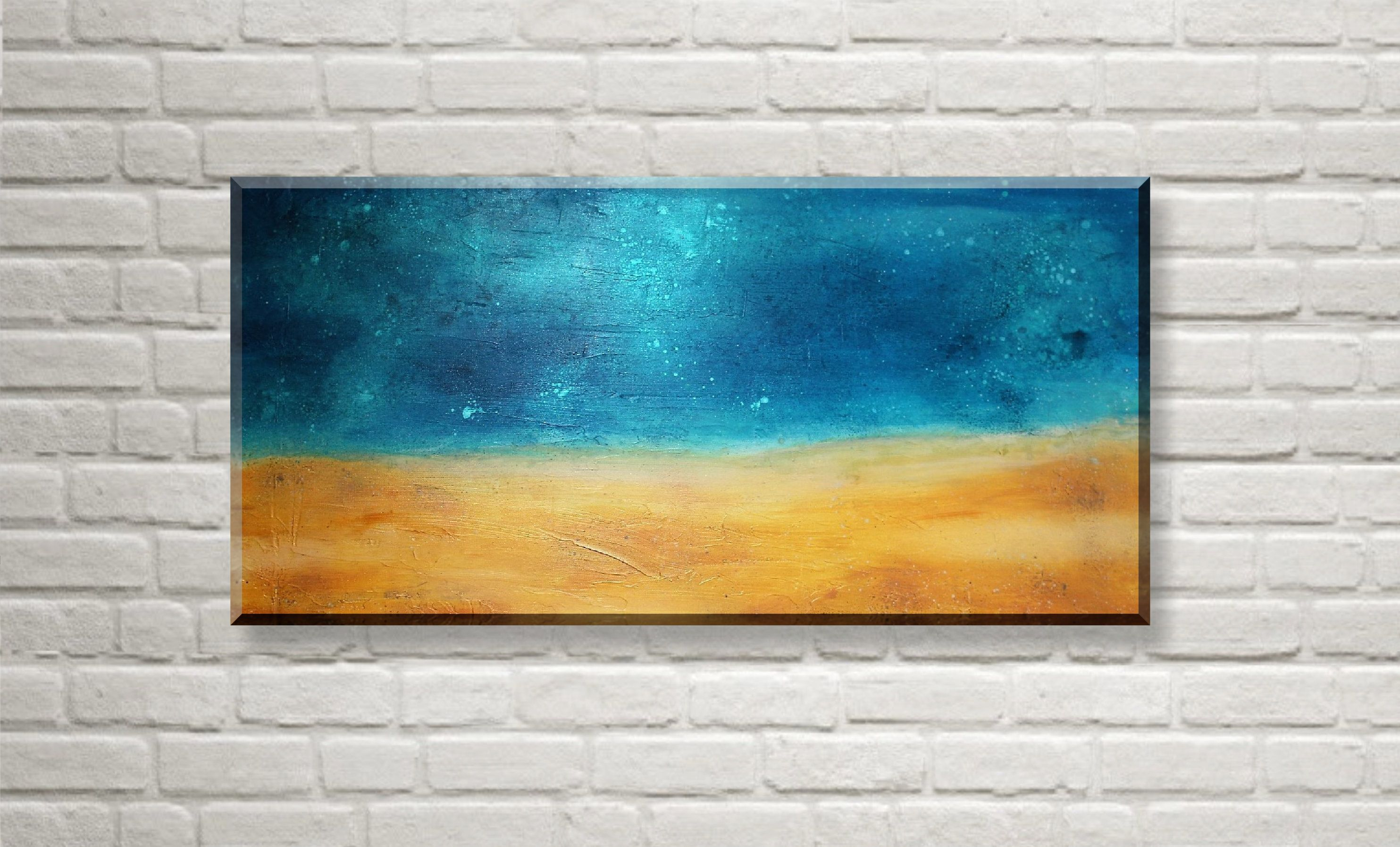 Original acrylic painting beach abstract, acrylic painting beach big ...
