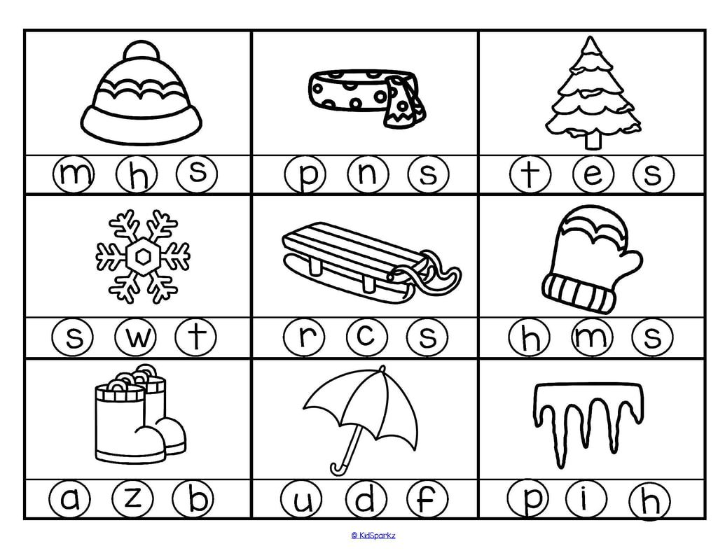 Winter theme initial sounds circle the correct letter