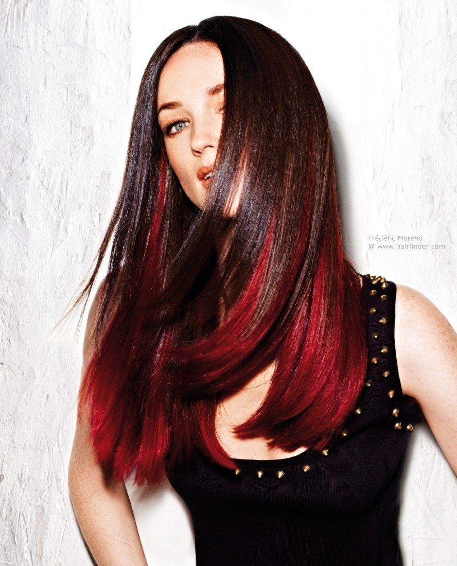 Brown Hair Red Underneath Dip Dye Hair Hair Styles Red Dip Dye Hair