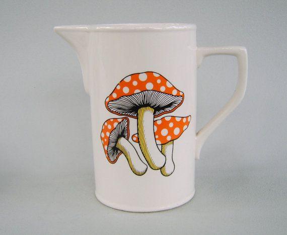 Vintage Ceramic Mushroom Pitcher Pride Ceramics Japan on Etsy, $22.00