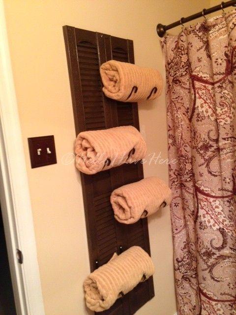 DIY Shutter Towel Rack