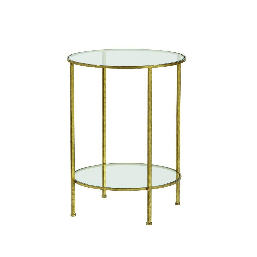 Home Decorators Collection Bella Aged Gold Glass Top End Table