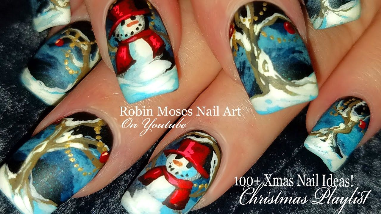 How To Hand Paint Christmas Nails! | DIY Snowman Nail Art Design ...