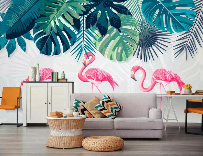 Self Adhesive Wall Decal traditional Exotic flamingo palm removable Wallpaper Temporary Peel and Stick  #52 leaf Print wall mural