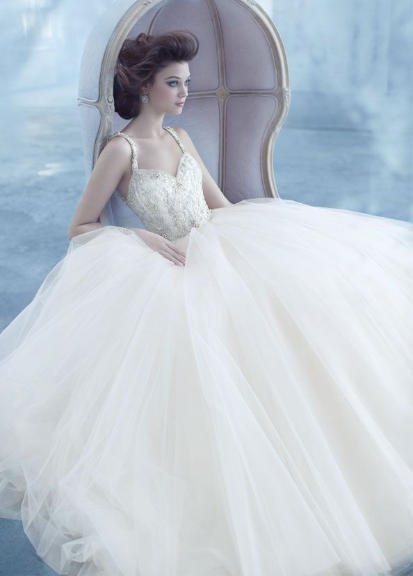 Champagne Sparkle Bridal Tulle Ball Gown Sweetheart Neckline With Beaded Shoulder Straps Sheer Jewel