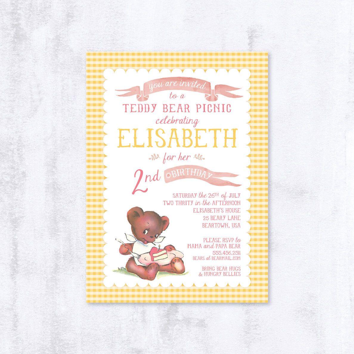 Teddy Bear Picnic - Birthday Party Invitation - Custom Printable ...