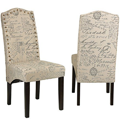 Dining Chair in Beige Script fabric vintage items Pinterest
