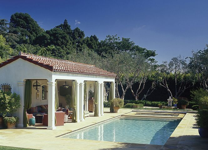 Spanish Colonial style Pool & Pool House, in Santa Monica ... on