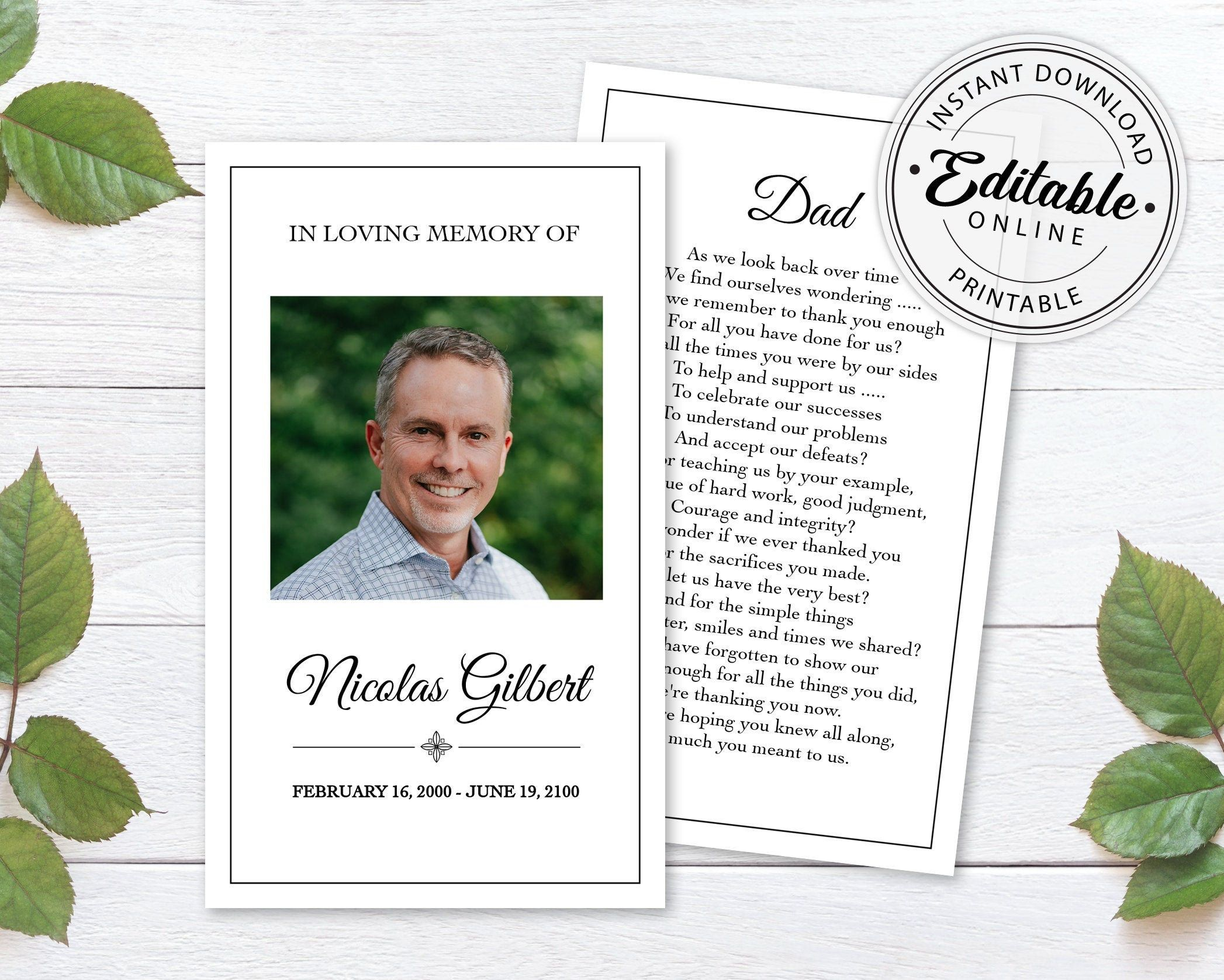 Editable Funeral Prayer Card Template Printable Memorial Prayer Card Template Funeral Prayer Card Cath Prayer Cards Funeral Prayers Prayer Cards For Funeral