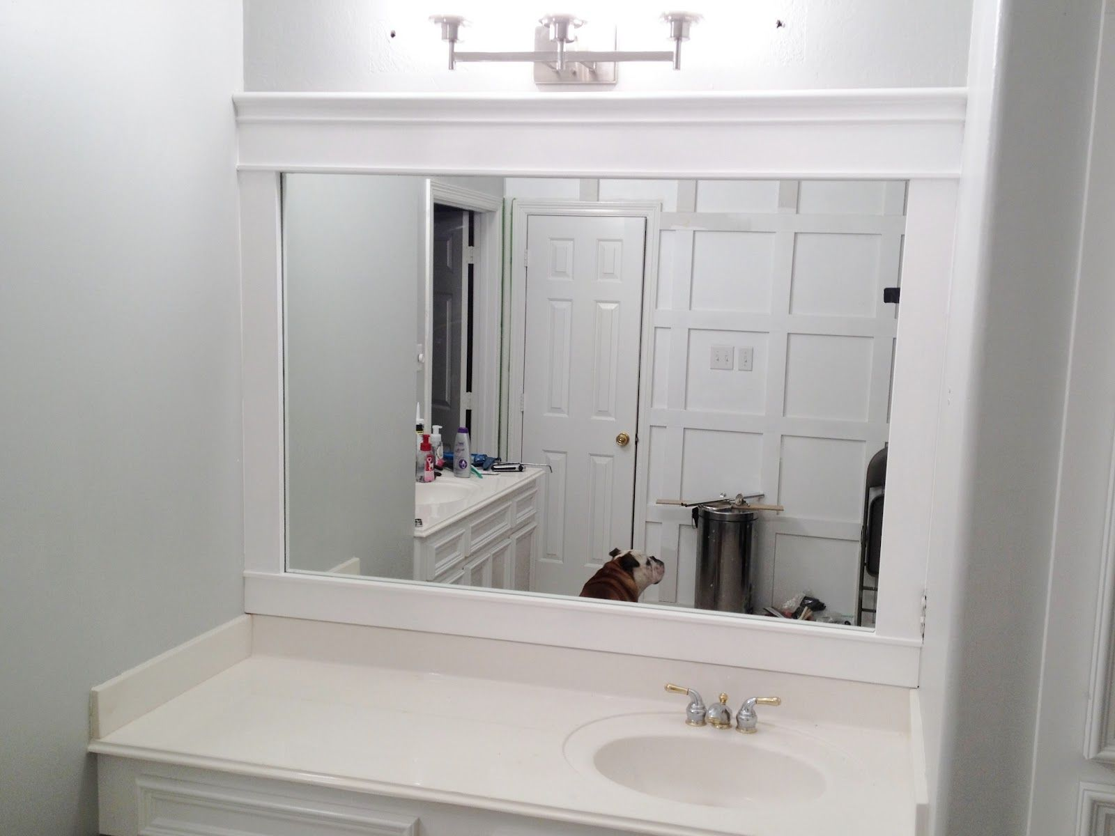 Bathroom Interior Elegant White Framed Wall Mirror Over Marble