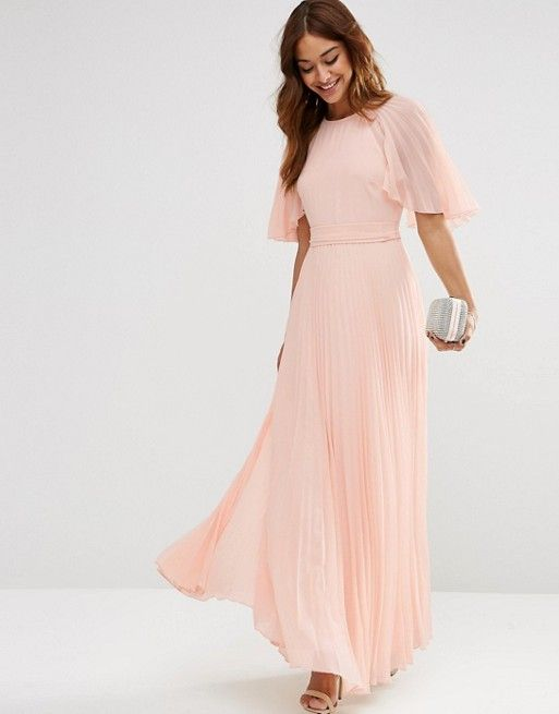 ASOS Pleated Flutter Sleeve Caftan Maxi Dress | ASOS