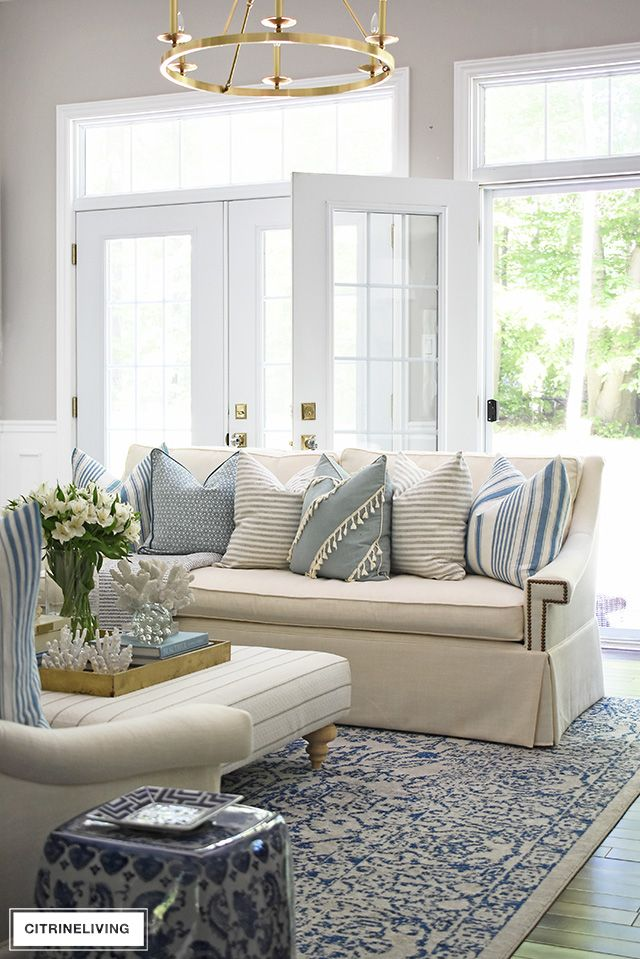Summer Living Room Tour With Blue White Blue White Living Room Living Room Remodel Blue White Pillows