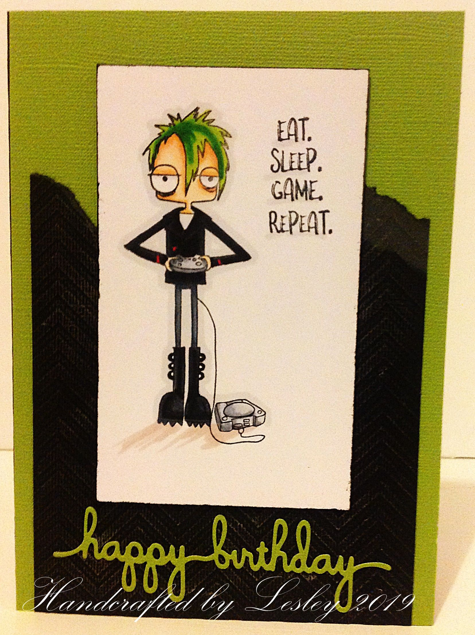 A Birthday Card For A Teenage Boy Made Using Oddball Gamer From Stamping Bella And Copic And Spectrum Happy Birthday Teenager Birthday Cards For Boys Boy Cards