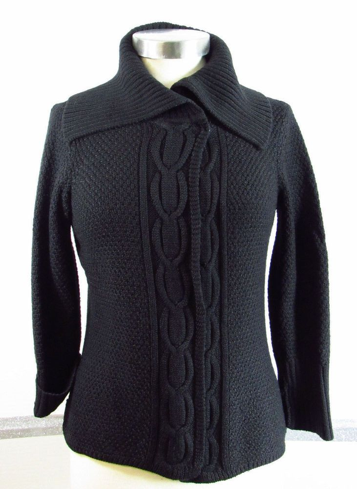65750d7dfb TAHARI Cardigan Sweater Small Wool Blend Black Collar cable trim Thin  Classy  Tahari  Cardigan