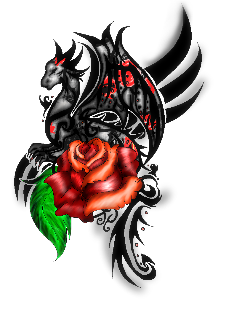 tribal dragon with rose tattoo coloured by on deviantart. Black Bedroom Furniture Sets. Home Design Ideas