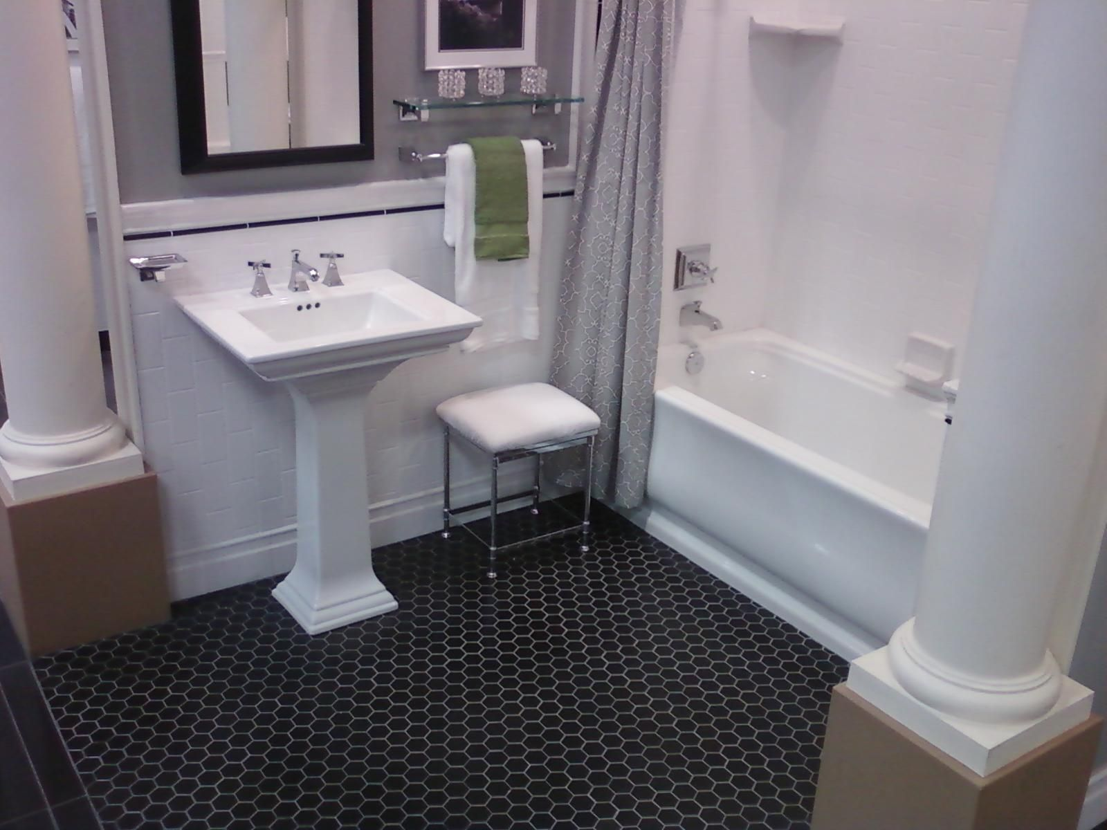 Dark Hex Floor with White Subway for Our Bathroom with Red Sink