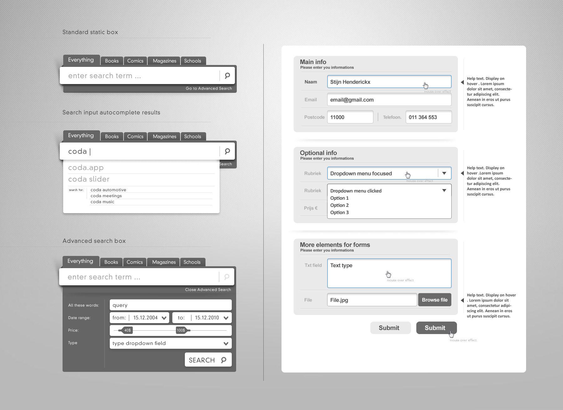 Web Form Elements Vol.2   Really slick search interface.   Abogado ...