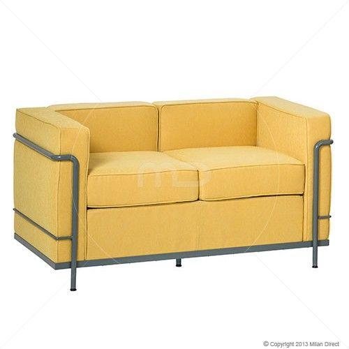 Le Corbusier Lc2 2 Seater Sofa Fabric Yellow Replica Milan