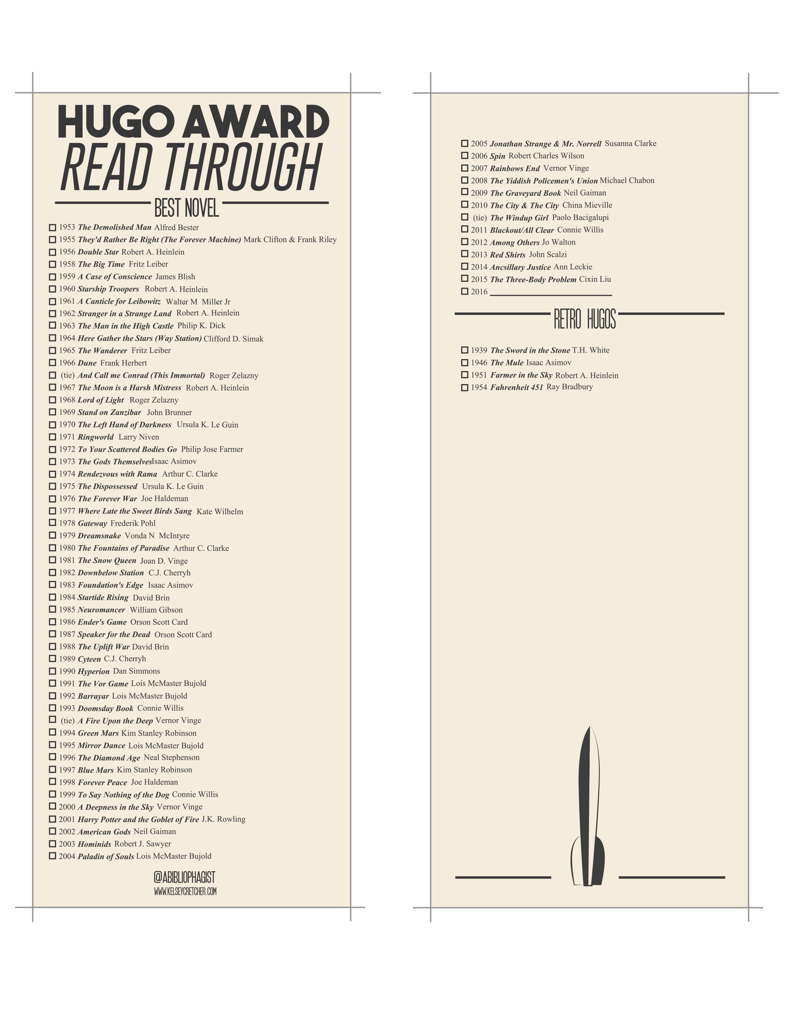 Hugo Award Checklist | Writing | Best novels, Awards, Novels