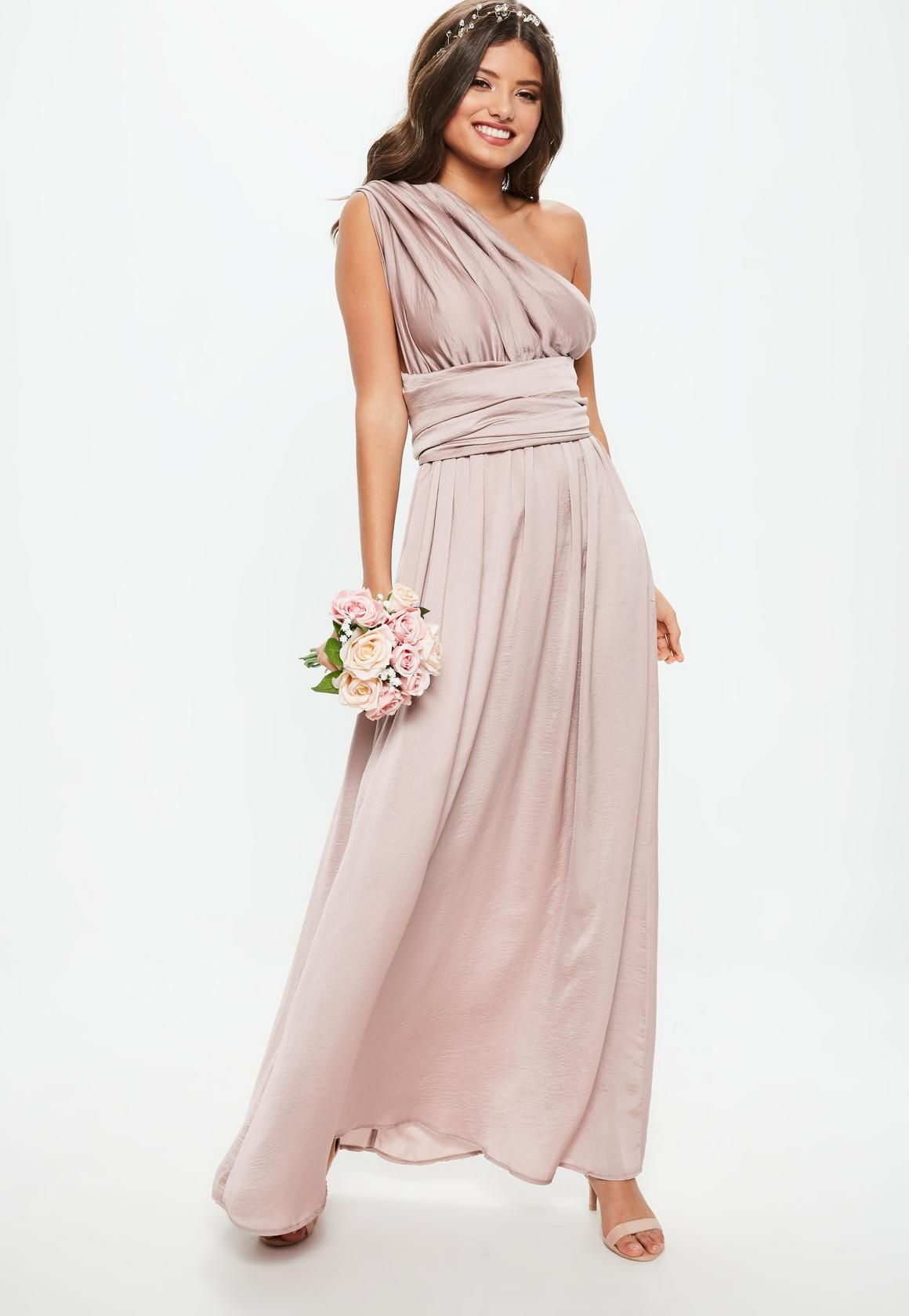 e6f263390b8 Missguided - Bridesmaid Pink Satin Multiway Maxi Dress