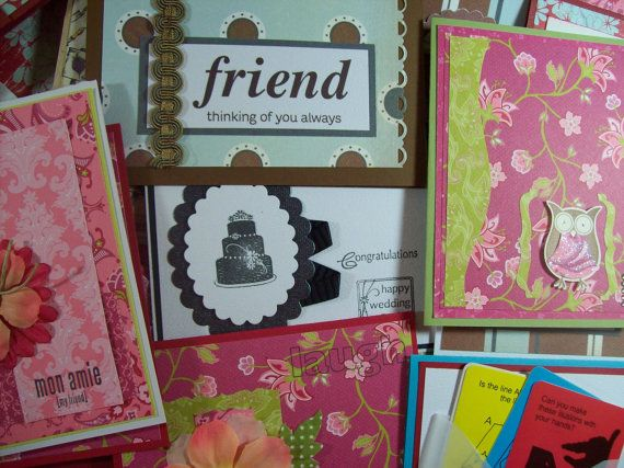 Large Set of 75 handmade cards by stampyourartout on Etsy