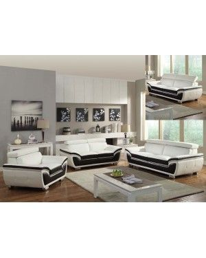 Acme 50145 Olina Two Tone White And Coffee Leather Adjustable Headrest Sofa Set