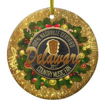 Delaware Country Music Fan Christmas Ornament - home decor design art diy  cyo custom - Delaware Country Music Fan Christmas Ornament - Home Decor Design