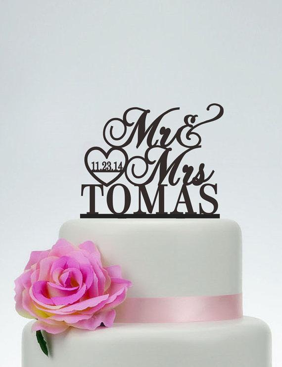 Wedding Cake TopperMr And Mrs Topper With SurnameHeart TopperCustom