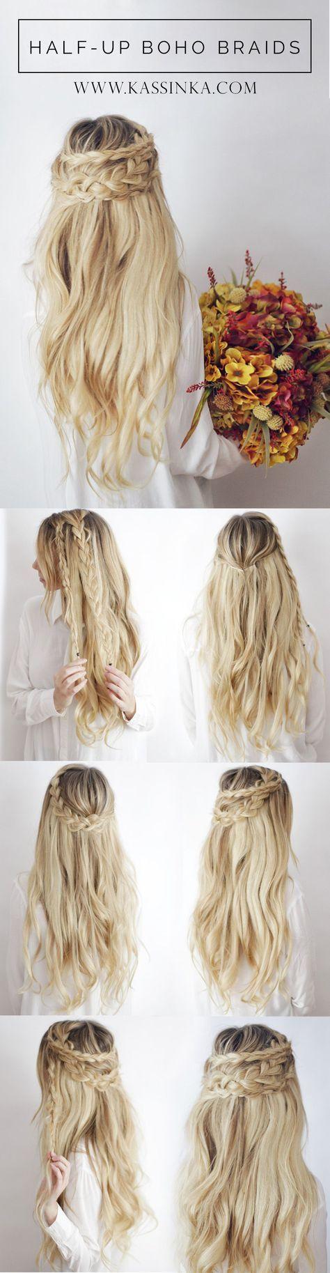 half-up boho braids bridal hair More | Hair Nails & Beauty ...