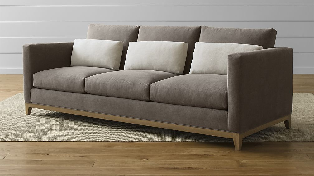 """$2499 Color: Woody Dimensions: 96""""L x 39""""D x 36""""H with 19""""seat height  Taraval 3-Seat Sofa with Oak Base"""