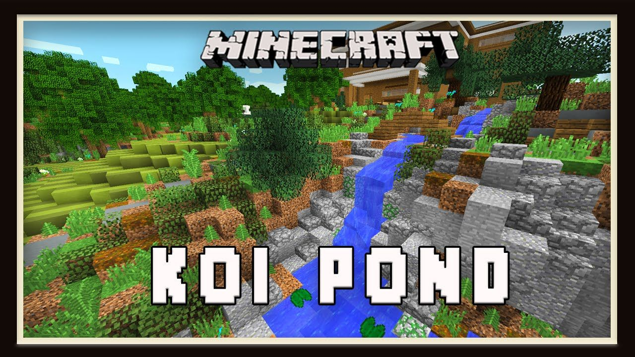 Minecraft: Koi Pond Garden Landscaping Design (Modern House Tutorial E..