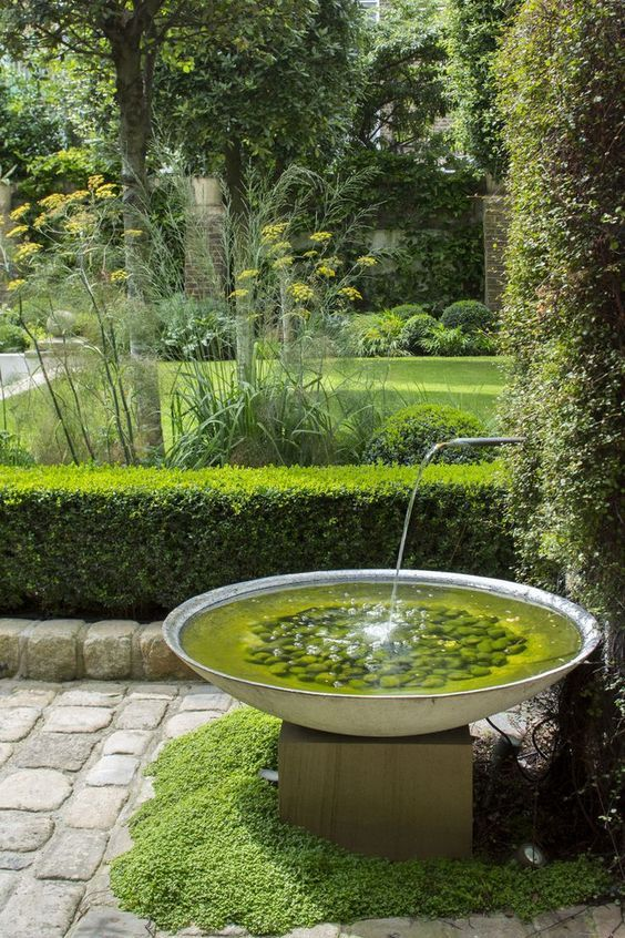Water Feature And Used Cobble Stone Paving With Raised Cobble Stone Edge Evergreen Water Fountains Outdoor Water Features In The Garden Indoor Water Fountains