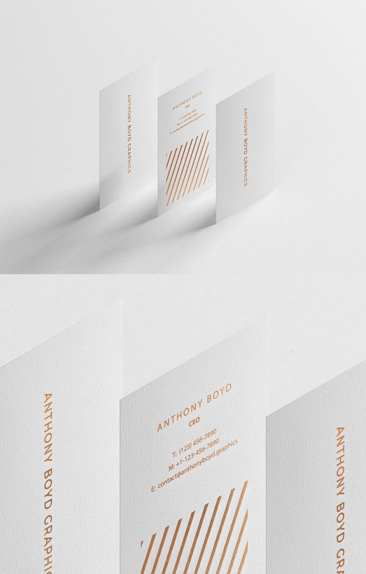 Free modern vertical business card mockup business card