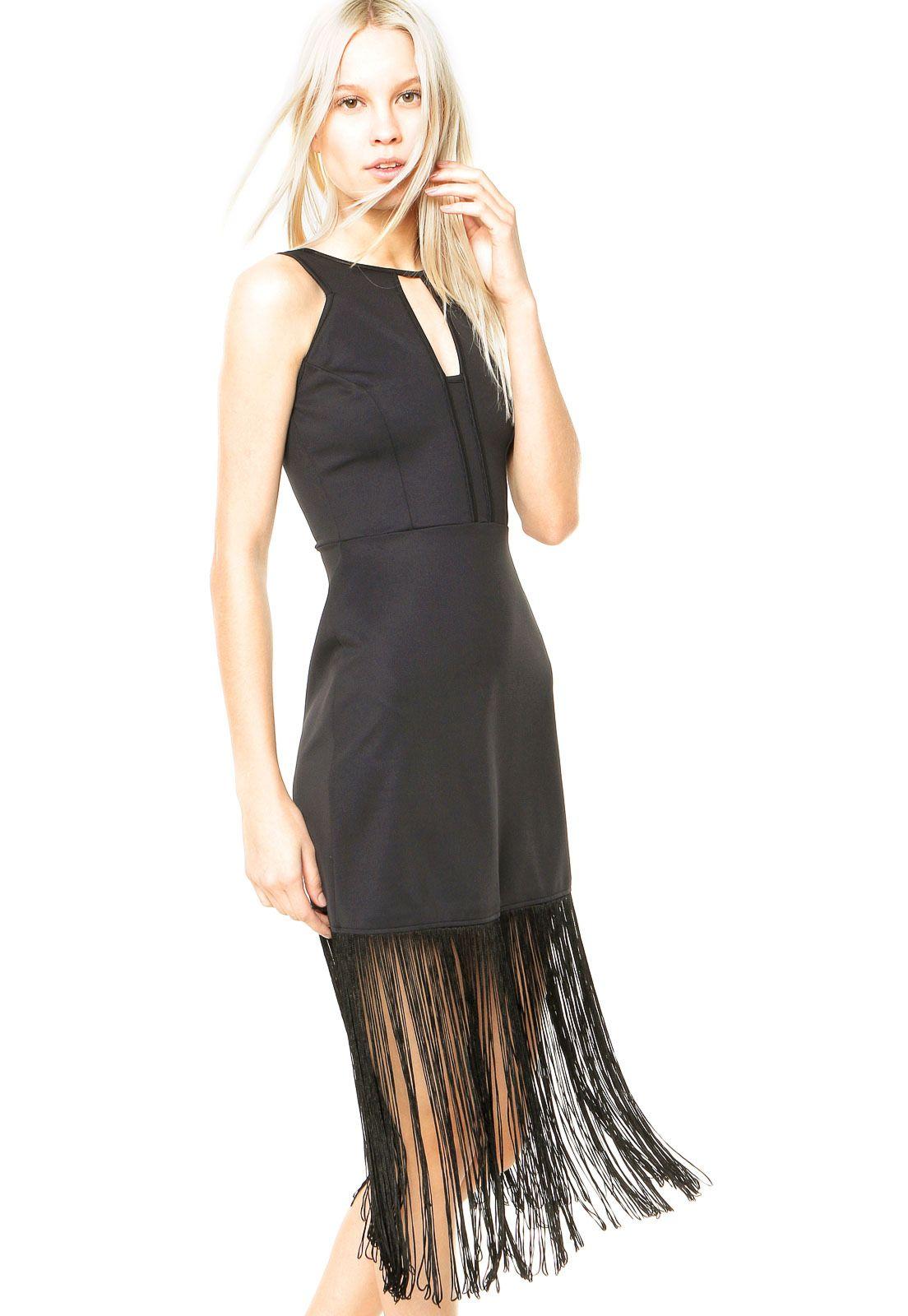 63bc657ef Vestido Colcci Franjas Preto - Marca Colcci | Colcci | Dress skirt ...
