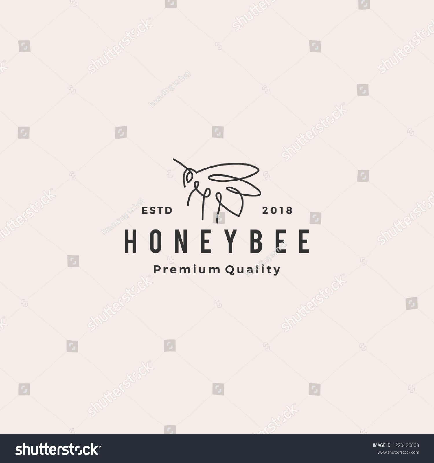 26c04d100fa6 honey bee logo vector line outline monoline icon illustration ...