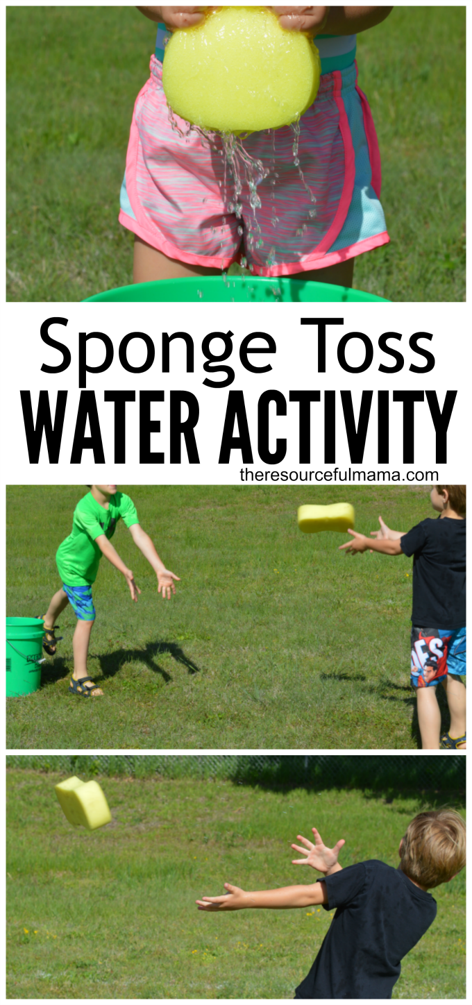 Water and ice activities summer camp at home with 12 weeks of easy - Sponge Toss Water Activity