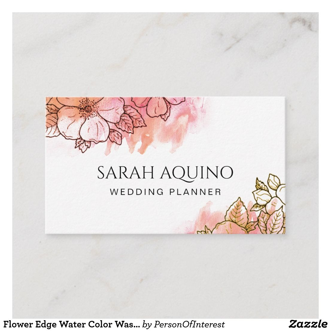 Flower Edge Water Color Wash Wedding Planner Business Card Cards Zazzle