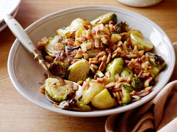Roasted Brussels Sprouts with Pancetta : Crispy pan-fried pancetta balances Brussels sprouts' earthy flavor with a hint of sweetness in Bobby's quick-to-assemble side dish.