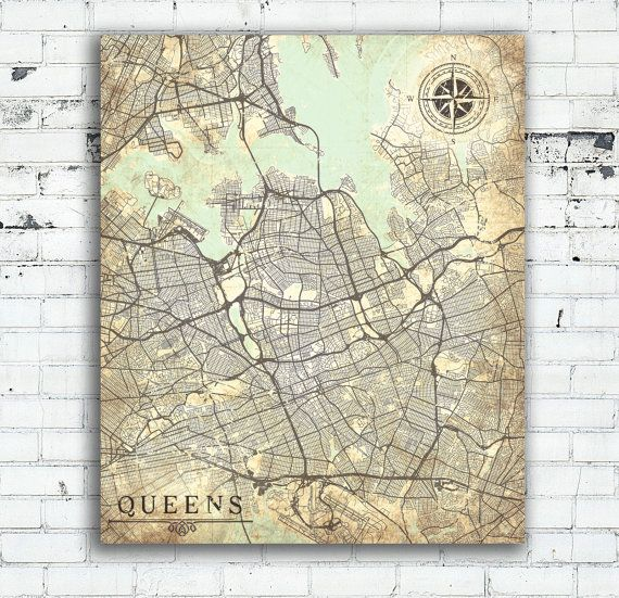 Queens ny canvas print queens city ny new york queens vintage map wall art poster map