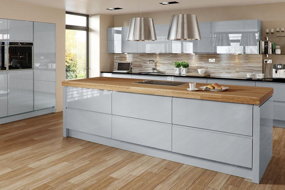 gloss blue cabinets wood worktop kitchen - Google Search | Kitchen ...