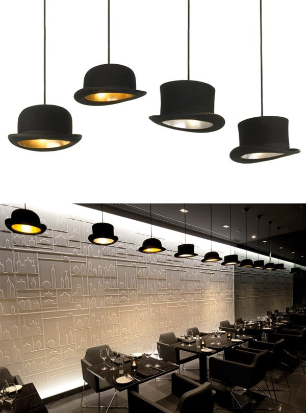 Classical British Designer Pendant Lighting: The Bowler and Top Hat