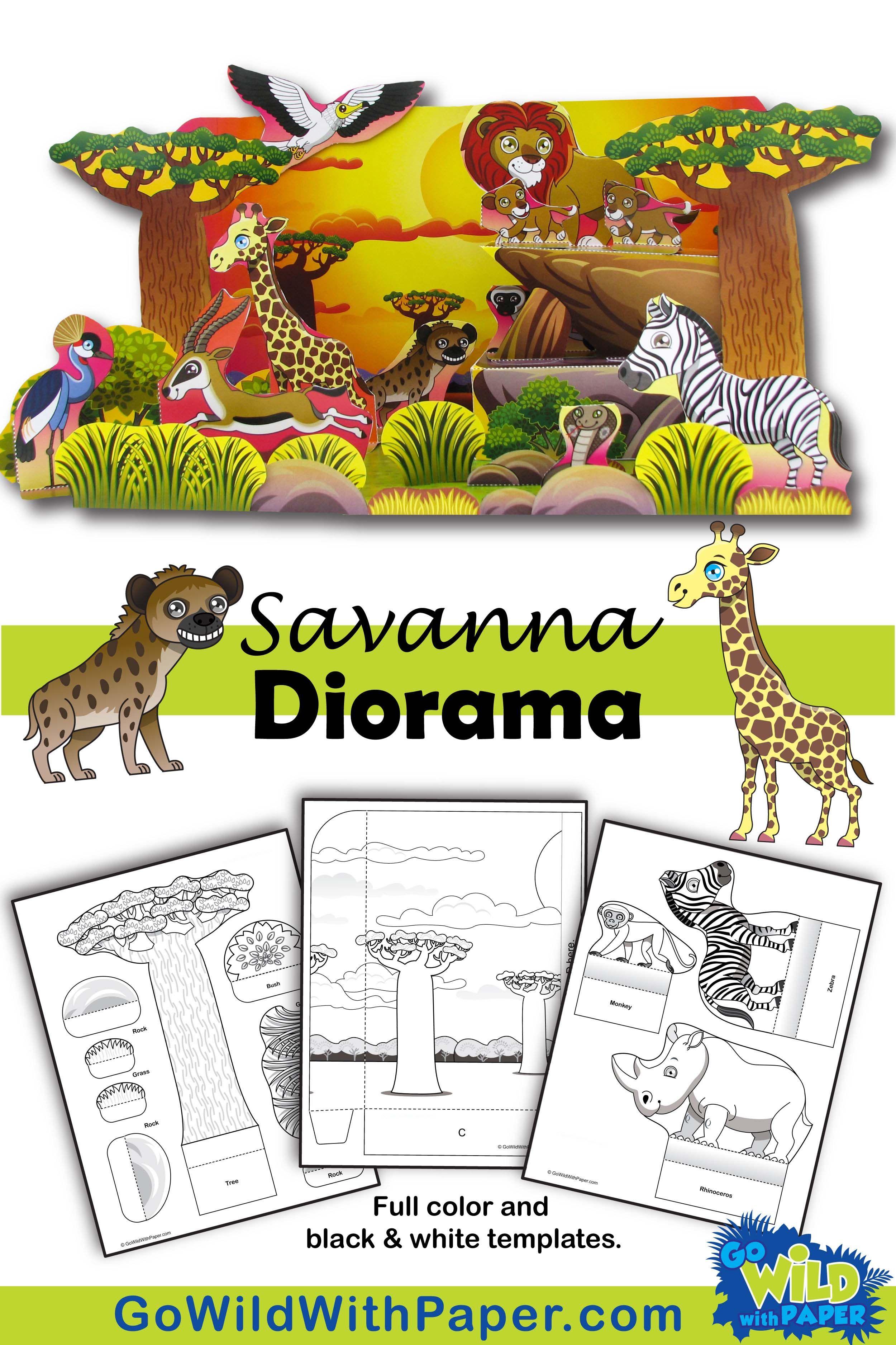 Savanna Habitat Craft Activity African Grassland Habitat Diorama Paper Model Diorama Kids Animal Art Projects Animal Habitats