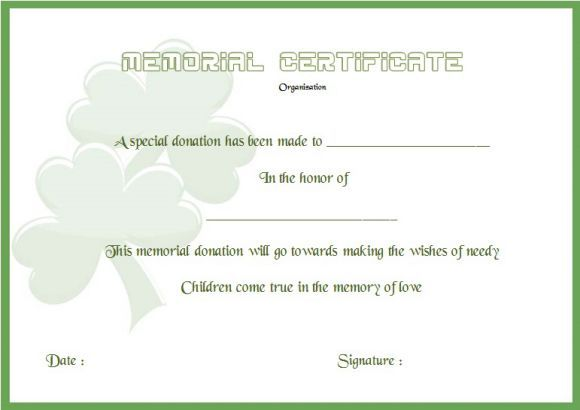 Donation In Memory Of Certificate Template | Donation Certificate ...