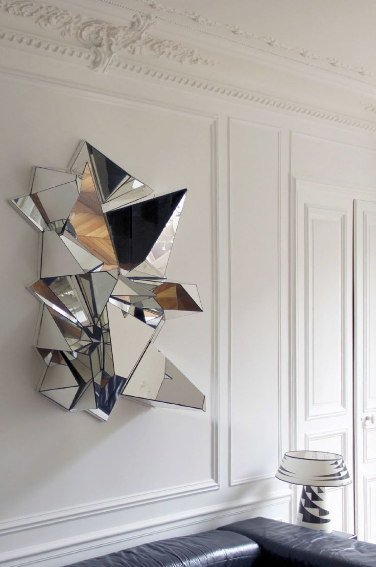 This looks massively dangerous and theres no way id sit under it froisse mirror by mathias kiss the froiss mirror resembles crumpled paper and was handcrafted with pieces of broken mirror assembled on a wooden base amipublicfo Choice Image
