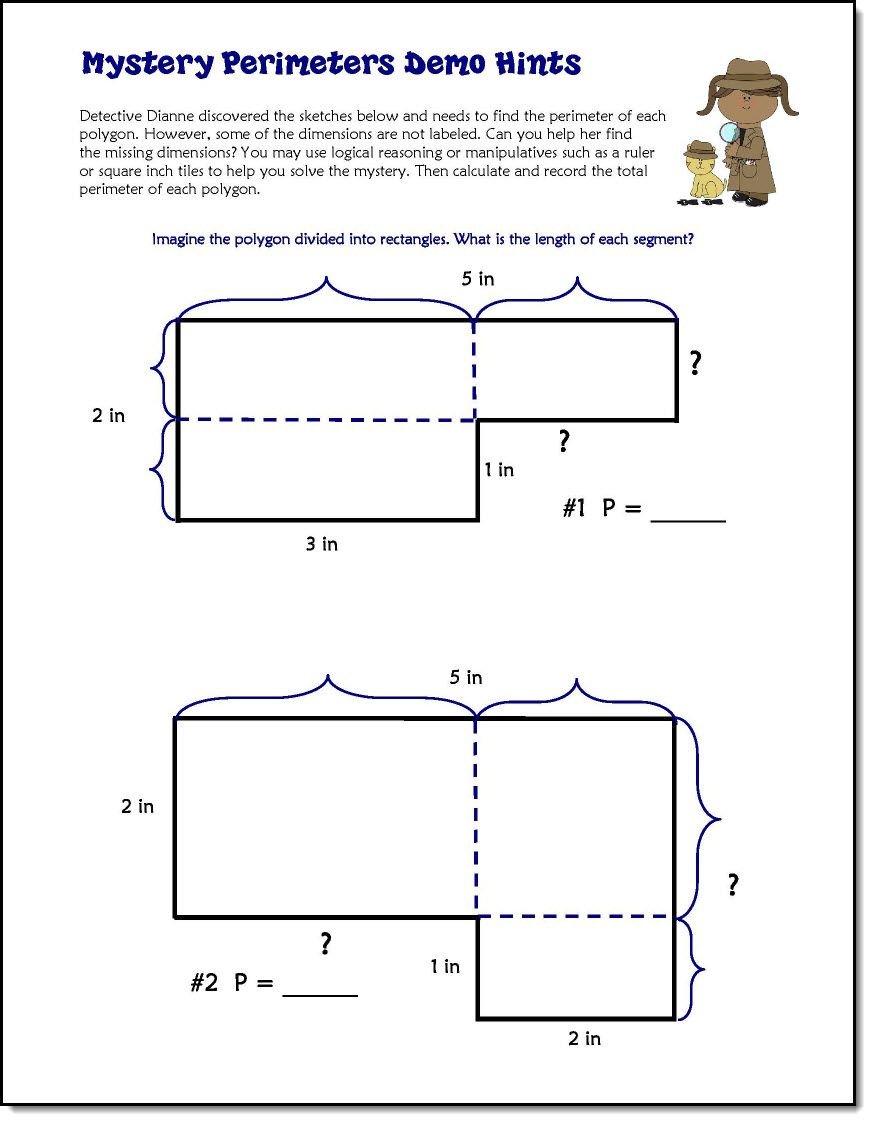 worksheet Perimeter Worksheets With Missing Sides solving unknown perimeter mysteries math and teacher corkboard connections mysteries