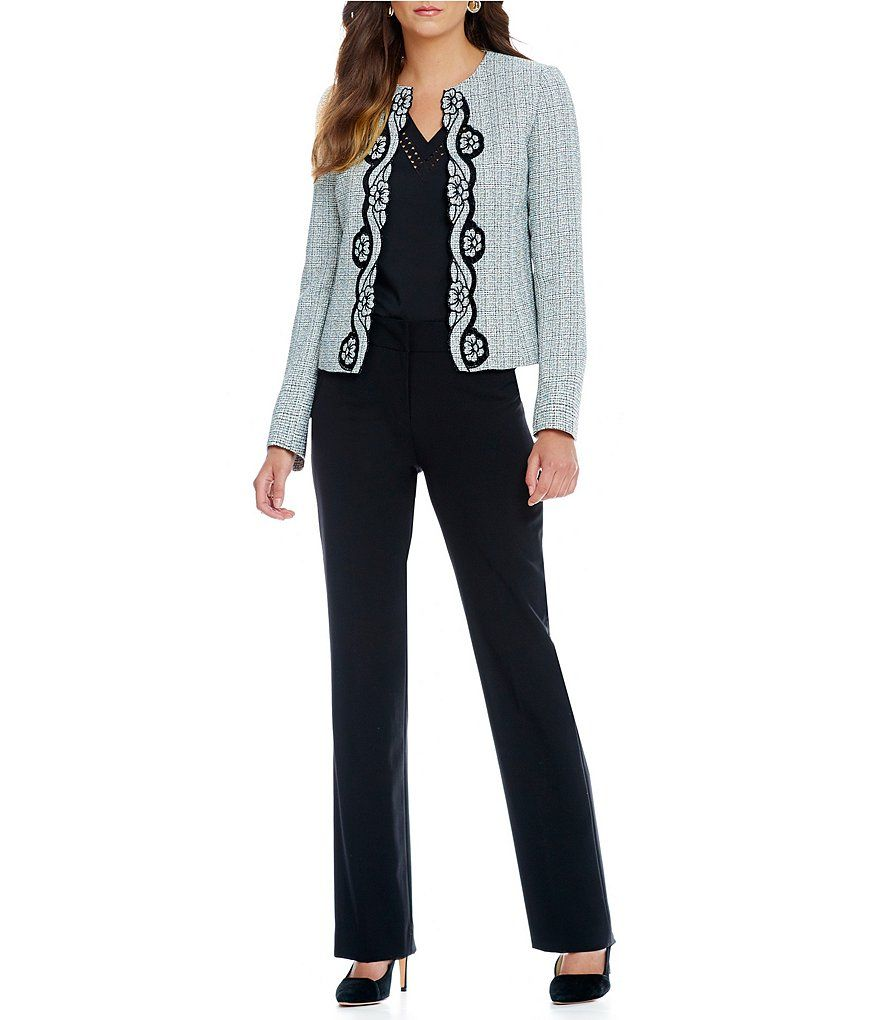 c2b3e02b8c1 Tahari ASL Embroidered Cut-Out Pant Suit