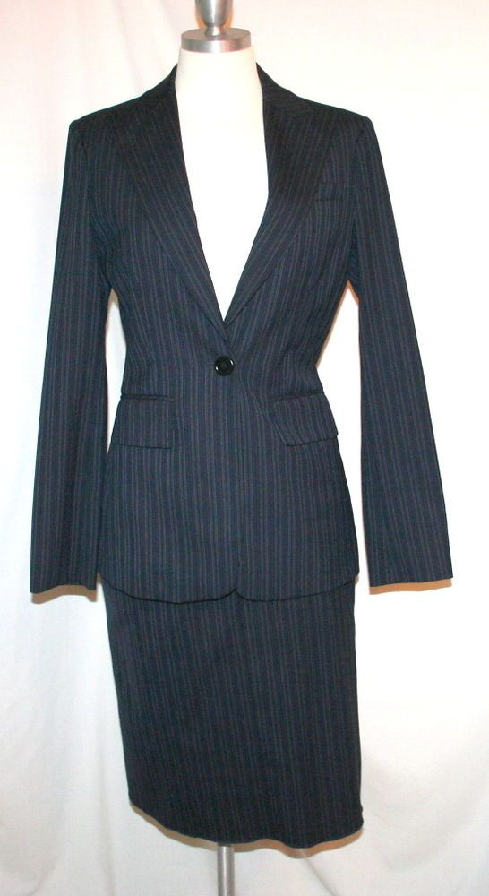 55c865ddc BCBG Max Azria Soft Black Pinstripe Pencil Skirt Suit | The Girl's ...