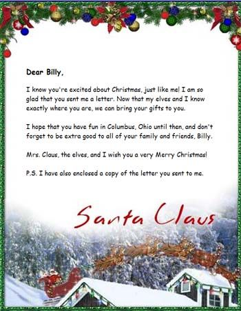 Sample Letters From Santa Claus an e-mail addressed from Santa
