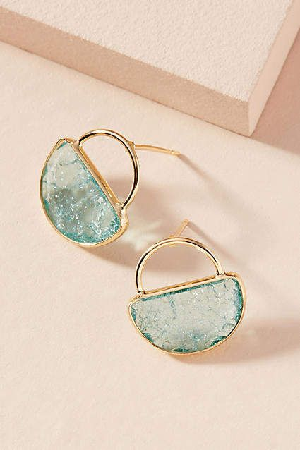 38594975a Anthropologie Cadence Petite Hooped Post Earrings. Simple and elegant gold  and turquoise.
